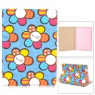 Stylish Cartoon Flower Pattern Flip-open PU Leather Case w/ + Auto Sleep + Holder for IPAD AIR