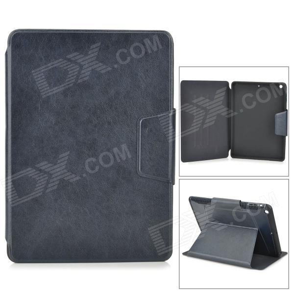 Flip-open PU + Silicone + Plastic Case w/ Holder + Magnetic Button + Auto Sleep for IPAD AIR