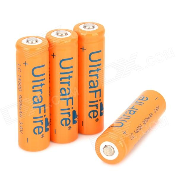 UITRAFIRE Rechargeable 14500 Li-ion 900mAh Batteries - Orange + Black (4 PCS) 2 3 4 5pcs icr 3 7v 16500 17500 rechargeable lithium ion battery li ion cell 1200mah for led flashlight torch and speaker