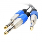 6.35 1-Male to 2-Male Hi-Fi Cable - Black + Blue + Multi-Colored (106cm)