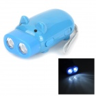 Pig Style Environmental Hand Pressing 2-LED 100lm White Flashlight - Blue