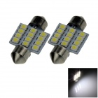 Festoon 31mm 1.2W 100lm 12 x SMD 1210 LED White Light Car Reading / Roof / Dome Lamp - (12V / 2 PCS)