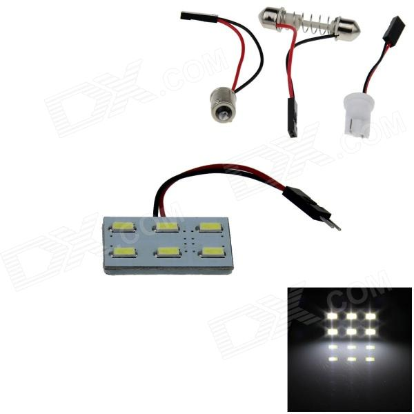 T10 / BA9S / Festoon 1W 100lm 6 x SMD 5630 LED White Light Car Reading Light / Panel Light - (12V)