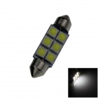 Festoon 39 milímetros 0.5W 60lm 6 x SMD 5050 LED White Light Car Reading / Indicador / Telhado Lamp-(12V)