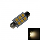Festoon 41mm 0.5W 60lm 6 x SMD 5050 LED Warm White Light Car Reading / Indicator / Roof Lamp - (12V)