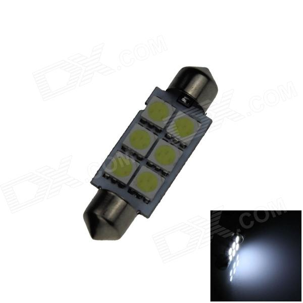 Festoon 41mm 0.5W 60lm 6 x SMD 5050 LED White Light Car Reading / Indicator / Roof Lamp - (12V) lx 3w 250lm 6500k white light 5050 smd led car reading lamp w lens electrodeless input 12 13 6v