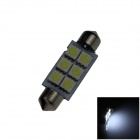 Festoon 41mm 0.5W 60lm 6 x SMD 5050 LED White Light Car Reading / Indicator / Roof Lamp - (12V)
