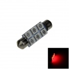 Festoon 41mm 0.5W 60lm 6 x SMD 5050 LED Red Light Car Reading / Indicator / Roof Lamp - (12V)