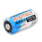 AITELY Rechargeable 3V 600mAh RCR123A Battery - White + Blue