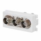 3 BNC Female Welding Module Panel - White + Silver