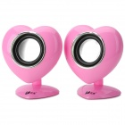 LANGJING L520 Heart Shape Style USB / 3.5mm Wired 2.0-CH Speaker - Pink