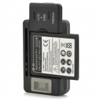 "US Plug Battery Charger w/ ""1900mAh"" 3.7V Li-ion Battery + EU Plug Adapter for Samsung i8190 - Black"