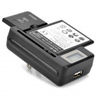 "US Plugss Battery Charger w/ ""1900mAh"" 3.7V Li-ion Battery + EU Plug Adapter for Samsung i8190 - Black"