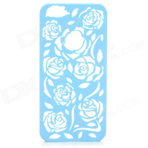 Protective Hollow Out Rose Pattern Plastic Back Case for IPHONE 5 / 5s - Blue cute girl pattern protective rhinestone decoration back case for iphone 5 light pink light blue