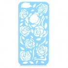Protective Hollow Out Rose Pattern Plastic Back Case for IPHONE 5 / 5s - Blue