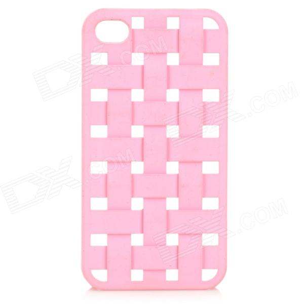 S-What Protective Mesh Style Plastic Back Case for IPHONE 4 / 4S - Pink cartoon pattern matte protective abs back case for iphone 4 4s deep pink