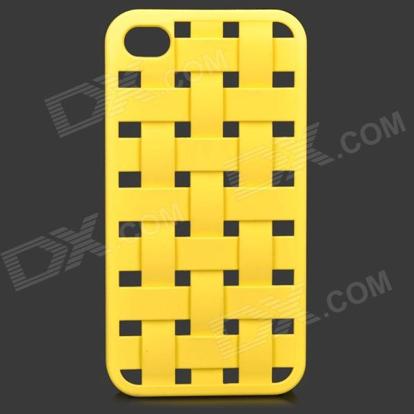 S-What Creative Mesh Style Plastic Back Case for IPHONE 4 / 4S - Yellow s what drift bottle style protective plastic back case for iphone 4 4s blue transparent
