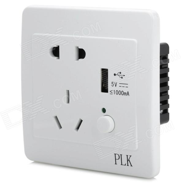 5-socket 3-outlet Panel w/ Switch Control for cellphone - White + Black