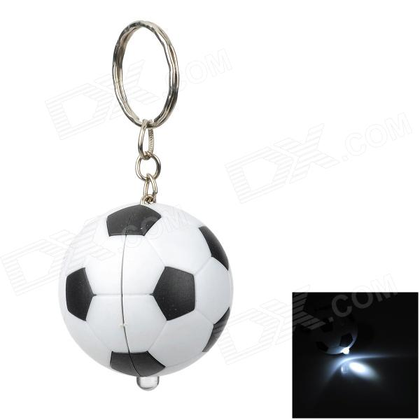 Creative Association Football Style LED White Flashlight Keychain - White + Black (2 x AG3)