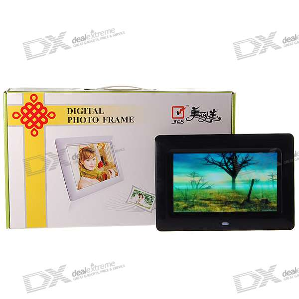 "7 ""Wide Screen TFT LCD Desktop Digital Photo Frame mit AV-Out und SD / MMC / MS / USB Slots (480 * 234px)"