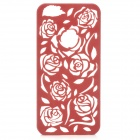 Protective Hollow Out Rose Pattern Plastic Back Case for IPHONE 5 / 5s - Brownish Red