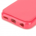 Protective Silicone PU Leather Case w/ Strap for IPHONE 5 / 5S - Dark Red