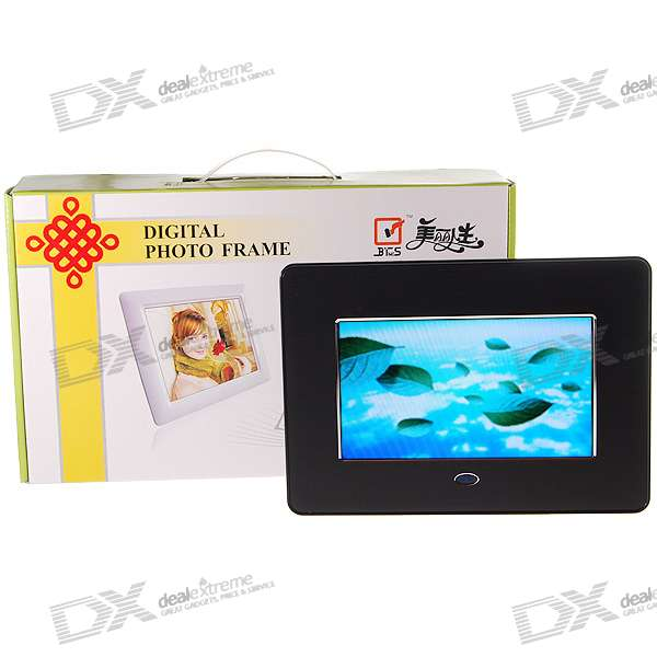 "7"" Wide Screen TFT LCD Digital Photo Frame with Remote and SD/MMC/MS/XD/USB Slots (480*234px)"