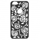 Protective Hollow Out Rose Pattern Plastic Back Case for IPHONE 5 / 5s - Black