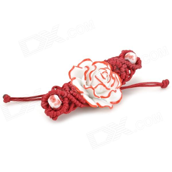 National Style Rose Ceramic Woven Bracelet - Red + White