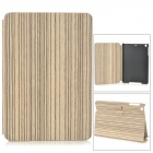 Protective Wood Grain Style PU Leather Case w/ Auto Sleep for IPAD MINI 2 - White + Light Grey