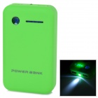 "Dual-USB Portable ""8600mAh"" Power Bank w/ LED Flashlight for IPHONE / IPAD - Green + Black"