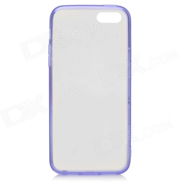 S-What Protective TPU Back Case w/ Anti-dust Plug for IPHONE 5 / 5S - Transparent + Purple glossy tpu gel back protection case for iphone 7 plus light purple