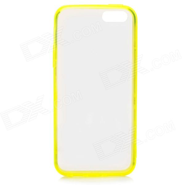 S-What Protective TPU Back Case w/ Anti-Dust Plug for IPHONE 5 / 5S - Transparent + Yellow protective tpu back case w anti dust cover for iphone 5 transparent