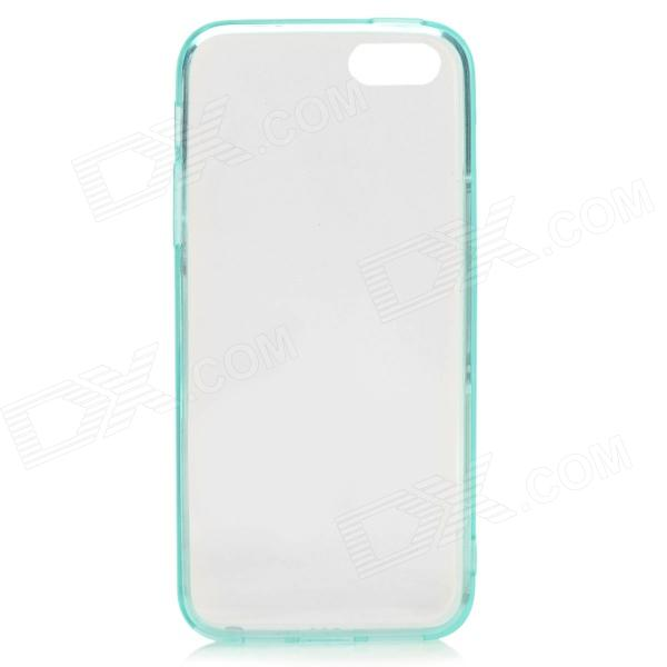 S-What Protective TPU Back Case w/ Anti-dust Plug for IPHONE 5 / 5S - Translucent Light Blue protective tpu soft back case cover w anti dust plug for iphone 5 translucent green