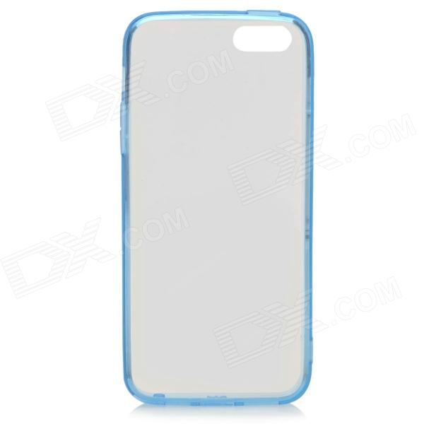 S-What Protective TPU Back Case w/ Anti-dust Plug for IPHONE 5 / 5S - Blue + Transparent protective tpu back case w anti dust cover for iphone 5 transparent