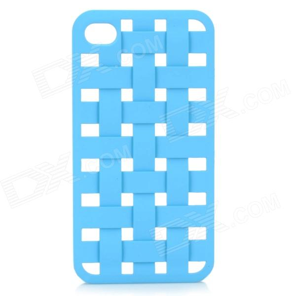 S-What Protective Mesh Style Plastic Back Case for IPHONE 4 / 4S - Blue nillkin protective matte plastic back case w screen protector for iphone 6 4 7 golden