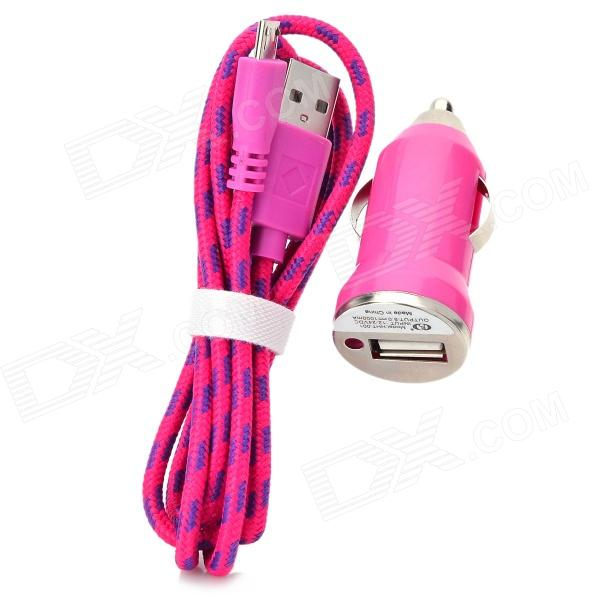 Car Charger + Weave Micro USB Male to USB 2.0 Charging Cable for Samsung - Deep Pink (DC 12~24V) car charger weave micro usb cable for samsung galaxy s4 note 2 s3 deep blue dc 12 24v