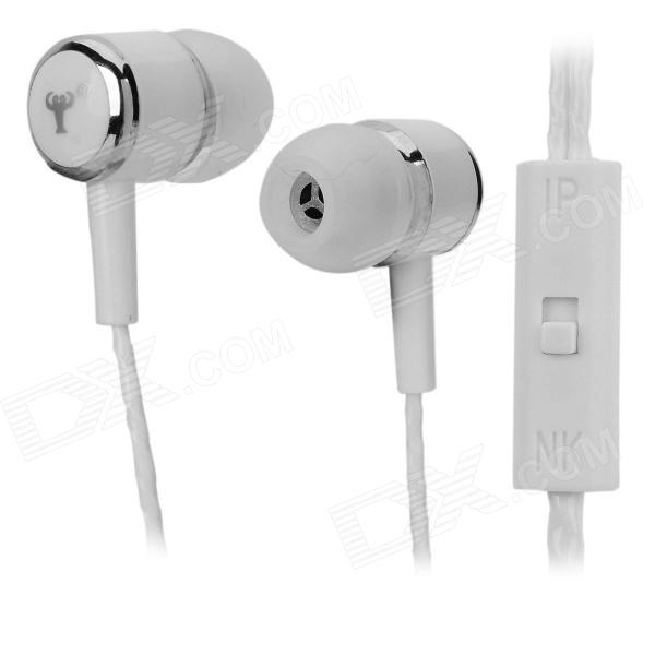 BSBESTE Q7 In-Ear Style Hands-free Earphone w/ Micrphone for Cellphone - White (118cm) kz ed8m earphone 3 5mm jack hifi earphones in ear headphones with microphone hands free auricolare for phone auriculares sport