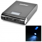 "PEOBAO 1.0"" LCD ""12000mAh"" Mobile Power Source w/ LED Flashlight for Samsung / HTC + More - Black"