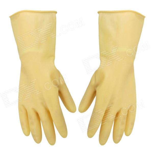 Water Resistant Hand-Protective Latex Gloves - Buff (Pair / Size M)