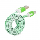 Flat Micro USB Male to USB 2.0 Male Data Sync / Charging Cable for Samsung + More - Green (100cm)