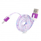 Flat Micro USB Male to USB 2.0 Male Data Sync / Charging Cable for Samsung + More - Purple (100cm)