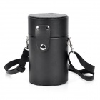LLC-B85 PU Leather Lens Case Bag for SLR - Black + Silver