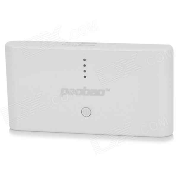 PEOBAO PB-303 20000mAh Power Source Bank Charger for Samsung / HTC / Xiaomi / BlackBerry - White original xiaomi 10000mah power bank silicone case charger protector cover white