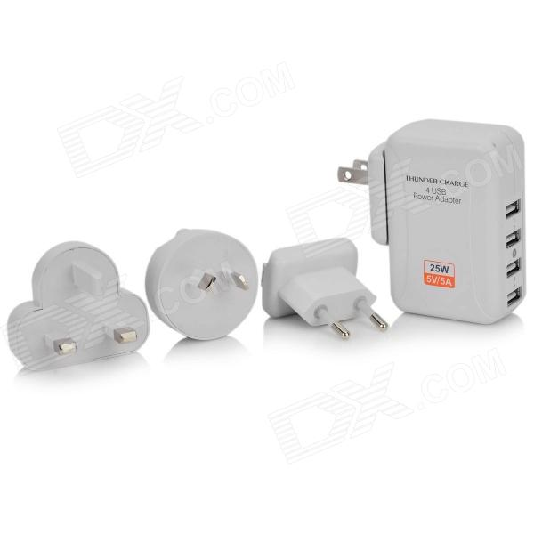 4-Power USB AC Power Charger Adapter w/ 4-Plug Adapter for IPHONE / IPAD + More - White (100~240V) dual usb ac power charger adapter for iphone ipad white ac 100 240 eu plug