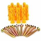 Mejianli M10X50 Plastic Expand Tube + Iron Expansion Screw - Yellow + Golden (10 PCS)