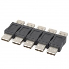 USB Type-A Male to Male Adapter Connectors - Black (5 PCS)