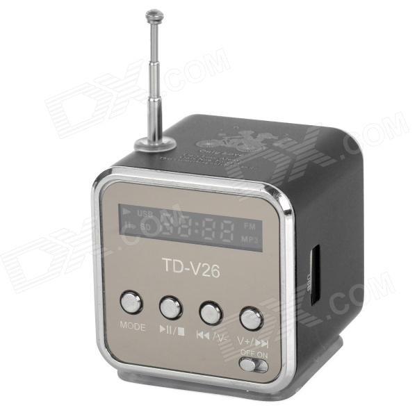 Multi-Functional Portable Media Player Speaker w/ TF / USB / FM - Black + Silver