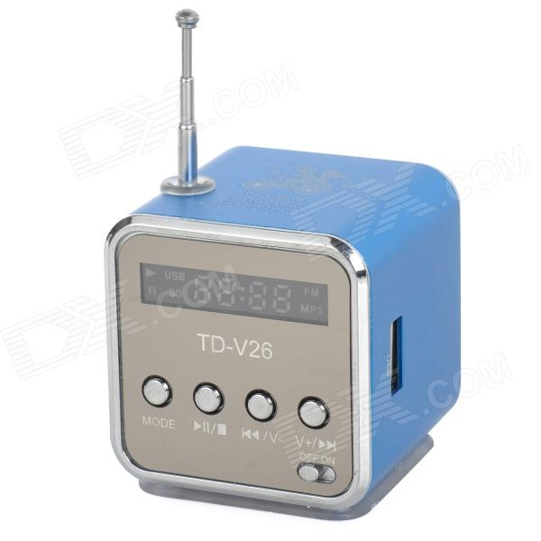 Portable Media Player Speaker w/ TF / FM - Blue + Silver