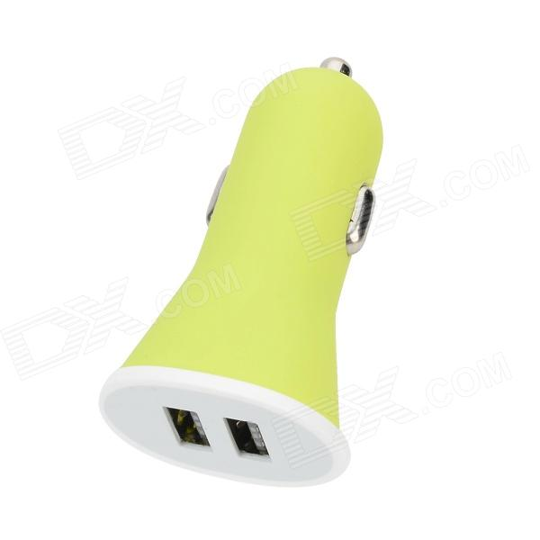 Dual-USB Car Cigarette Lighter Charger Adapter - Green + White